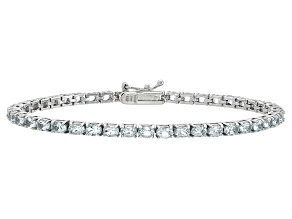 Oval 5.42ctw Aquamarine Rhodium Over Sterling Silver Tennis Bracelet