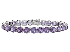 Round 36.40ctw Lab Created Alexandrite Sterling Silver Tennis Bracelet