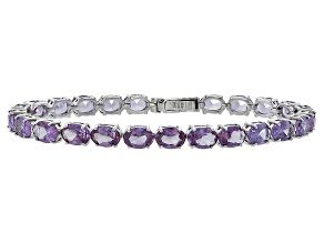 Oval 20.95ctw Lab Created Alexandrite Sterling Silver Tennis Bracelet