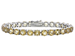 Round 18.90ctw Citrine Rhodium Over Sterling Silver Tennis Bracelet