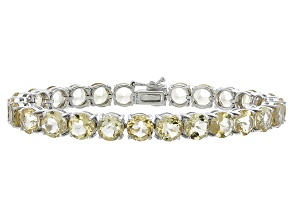 Round 26.91ctw Citrine Rhodium Over Sterling Silver Tennis Bracelet