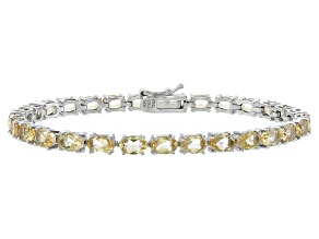 Oval 12.38ctw Citrine Rhodium Over Sterling Silver Tennis Bracelet