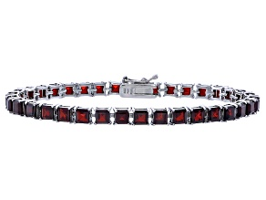 Princess 12.24ctw Vermelho Garnet Rhodium Over Sterling Silver Tennis Bracelet