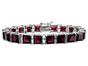 Princess 40.40ctw Vermelho Garnet Rhodium Over Sterling Silver Tennis Bracelet