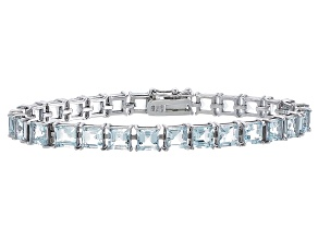 Princess Cut 26.52ctw Aquamarine Rhodium Over Sterling Silver Tennis Bracelet