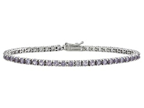 Round 6.75ctw Lab Created Alexandrite Sterling Silver Tennis Bracelet