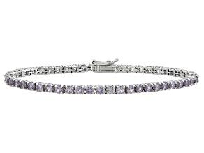 Round 6.75ctw Lab Created Alexandrite Sterling Silver Tennis Bracelet