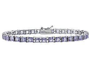 Princess Cut 12.58ctw Lab Created Alexandrite Sterling Silver Tennis Bracelet
