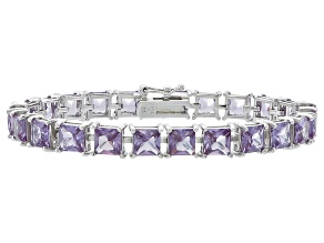 Princess Cut 29.19ctw Lab Created Alexandrite Sterling Silver Tennis Bracelet