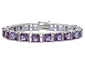 Princess Cut 39.34ctw Lab Created Alexandrite Sterling Silver Tennis Bracelet