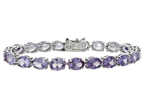 Oval 24.57ctw Lab Created Alexandrite Sterling Silver Tennis Bracelet
