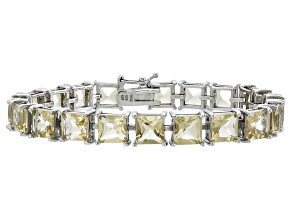 Princess Cut 27.54ctw Citrine Rhodium Over Sterling Silver Tennis Bracelet