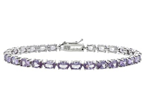 Oval 15.95ctw Lab Created Alexandrite Sterling Silver Tennis Bracelet
