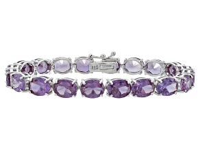Oval 37.80ctw Lab Created Alexandrite Sterling Silver Tennis Bracelet