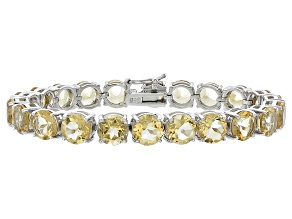 Round 35.20ctw Citrine Rhodium Over Sterling Silver Tennis Bracelet