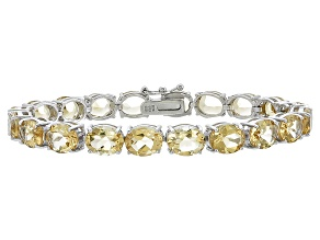 Oval 29.00ctw Citrine Rhodium Over Sterling Silver Tennis Bracelet