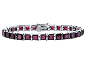 Princess 25.17ctw Vermelho Garnet Rhodium Over Sterling Silver Tennis Bracelet