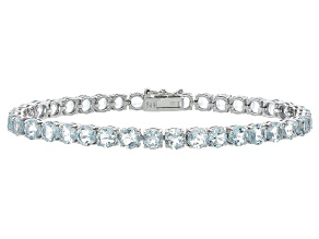 Round 13.32ctw Aquamarine Rhodium Over Sterling Silver Tennis Bracelet