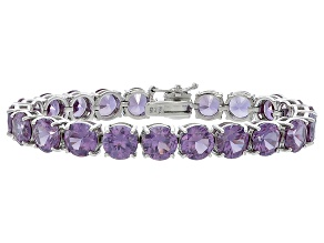 Round 48.40ctw Lab Created Alexandrite Sterling Silver Tennis Bracelet