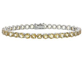 Round 13.32ctw Citrine Rhodium Over Sterling Silver Tennis Bracelet