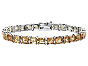 Princess Cut 17.36ctw Citrine Rhodium Over Sterling Silver Tennis Bracelet