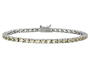 Oval 4.73ctw Citrine Rhodium Over Sterling Silver Tennis Bracelet