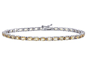 Oval 6.30ctw Citrine Rhodium Over Sterling Silver Tennis Bracelet