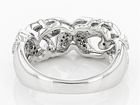 White Diamond Rhodium Over Sterling Silver Ring .10ctw