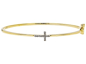 White Diamond 14k Yellow Gold Over Sterling Silver Bracelet .15ctw