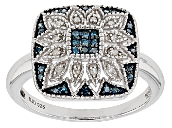 Picture of Blue And White Diamond Rhodium Over Sterling Silver Ring .16ctw