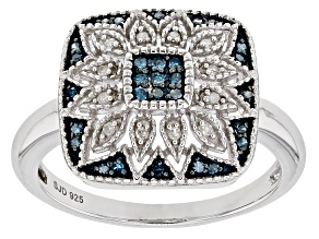 Blue And White Diamond Rhodium Over Sterling Silver Ring .16ctw