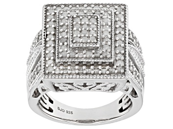 Picture of White Diamond Rhodium over Sterling Silver Ring .90ctw