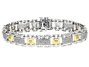 White Diamond Rhodium over Sterling Silver with 14k Yellow Gold Accents Gents Bracelet .50ctw