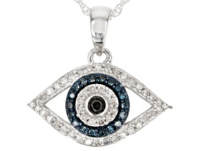Blue, Black and White Diamond Rhodium over Sterling Silver Pendant .22ctw
