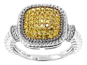 Yellow and White Diamond Rhodium over Sterling Silver Ring .45ctw
