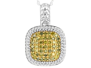 Yellow Diamond Rhodium over Sterling Silver Pendant .40ctw