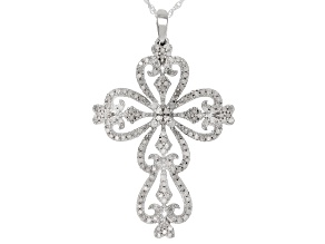 White Diamond Rhodium over Sterling Silver Pendant .50ctw