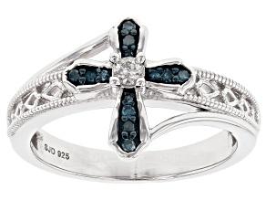 Blue Velvet Diamond® and White Diamond Rhodium Over S/S Ring .15ctw