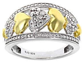 White Diamond Rhodium and 14K Yellow Gold Over Sterling Silver Ring Diamond Accent