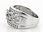 White Diamond Rhodium Over Sterling Silver Ring Diamond Accent