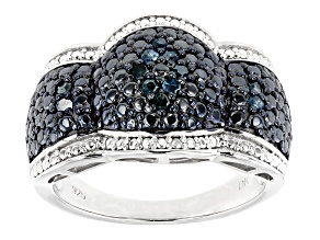 Blue Velvet Diamond™ Rhodium over Sterling Silver Ring .18ctw