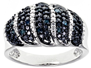 Blue Velvet Diamond™ Rhodium over Sterling Silver Ring .13ctw