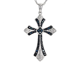 "Blue Diamond Rhodium over Sterling Silver Cross Pendant With 18"" Rope Chain 0.14ctw"