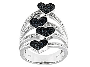 Blue Velvet Diamond™ Rhodium over Sterling Silver Ring Diamond Accent