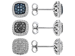 White, Blue, and Black Diamond Rhodium over Sterling Silver Earring Set .30ctw