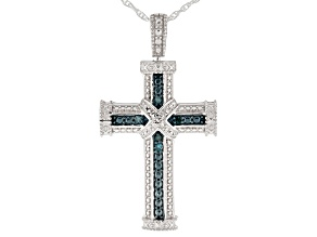 Blue Diamond Accent Rhodium over Sterling Silver Cross Pendant with Chain