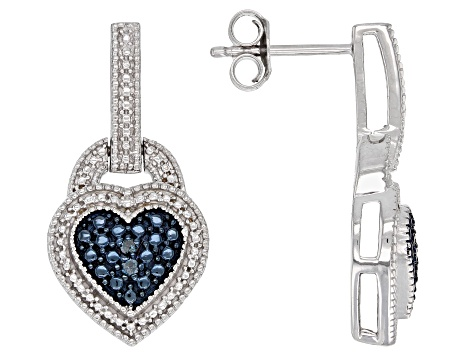 Blue Diamond Accent Rhodium over Sterling Silver Earrings