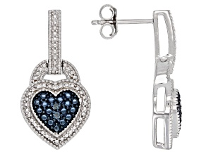 Blue Diamond Accent Rhodium Over Sterling Silver Earrings Heart Dangle Earrings
