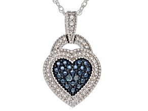 Blue Diamond Accent Rhodium Over Sterling Silver Heart Cluster Pendant With 18