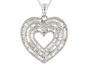 White Diamond Rhodium Over Sterling Silver Pendant With 1.00ctw